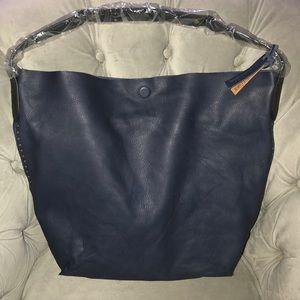 Linea Pelle black leather hobo bag